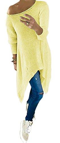 Mikos*Damen Langarm Shirt Rundhals Strickpullover Ausschnitt Assymetrische Form Shulterfrei Sweatshirt (659) Orange