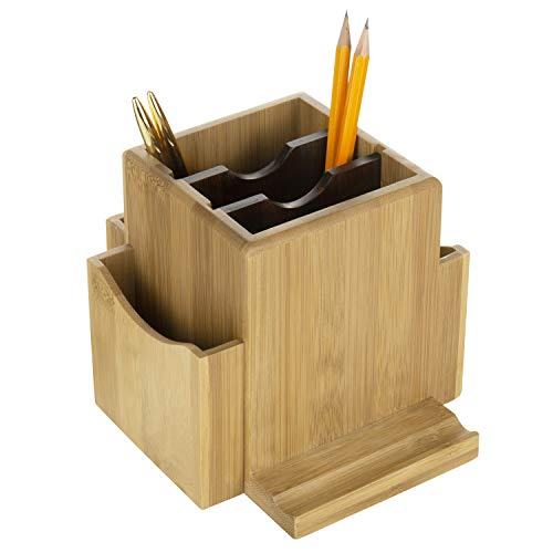 MyGift - Organizador de escritorio giratorio de bambú y soporte para teléfono móvil