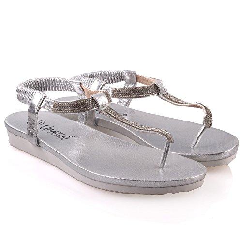 Unze Womens ' Guri ' piatto decorato estate sandali Argento