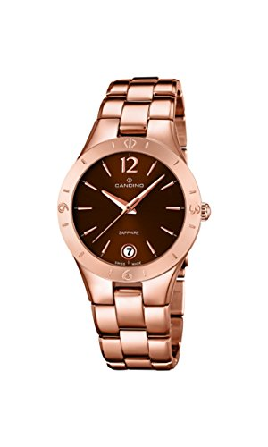 Candino Women's Quartz Watch with Brown Dial Analogue Display and Rose Gold Stainless Steel Plated Bracelet C4578/2