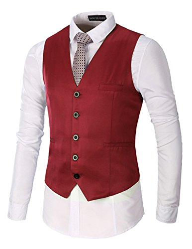 Boom Fashion Slim fit Gilet Veston Veste Costume Sans Manches Homme Branché(chemise Non inclus) Rouge