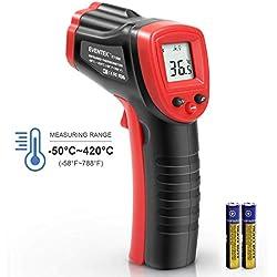 Thermomètre Infrarouge Eventek, Thermomètre Laser -50 ° C - 420 ° C (-58 ° F - 788 ° F), Thermomètre Sans Contact, LCD Numérique, éclairage, Noir / Rouge