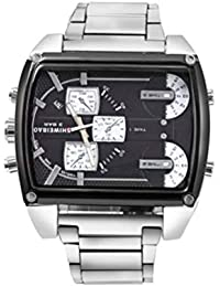 Men's Watch Oulm Men Multiple Time Display Quartz Wrist Watch (Black)
