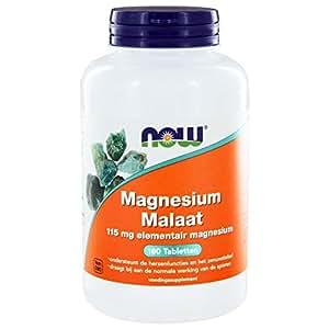 Now Foods I Magnesium Malaat 1000mg  I 115mg elementares Magnesium  I 180 vegane Kapseln