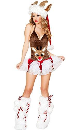 CWZJ Sexy Rentier Kostüm Weihnachts Kostüm Damen Grün Und Braun Tube Top Weihnachtskleid Erotische Unterwäsche Erwachsene Karnevalskostüm Weihnachten,Brown (Kostüm Damen Rentier)