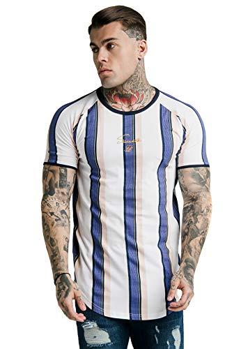 Sik Silk Herren T-Shirt S/S Rotary Stripe Raglan Gym Tee Mehrfarbig White/Navy/Shell, Größe:XL - Stripe Silk Shirt