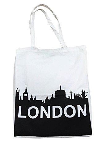 100% coton épaule Londres imprimé à la main élégant sac en toile Nouveauté fourre-tout (blanc-Londres)