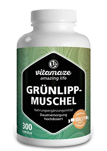 Vitamaze® Grünlippmuschel Kapseln hochdosiert: 1500 mg Grünlippmuschelpulver aus Neuseeland pro Tagesdosis, 300 Kapseln zur Dauerversorgung, Made-in-Germany, ohne Magnesiumstearat