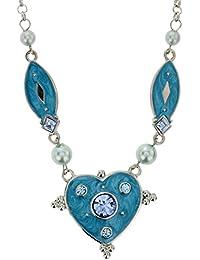 Collier chaîne en Argent - Collier de Perles avec des Strass Bleu Clair - Collier Coeur d'amour pour Elle