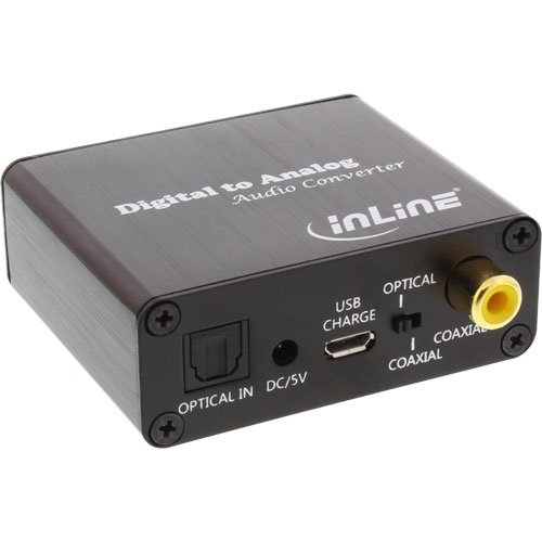 InLine Convertitore Audio Digitale/Analogico INGRESSI Toslink + S/PDIF Coassiale / USCITE RCA L+R Stereo + Jack 3.5 mm