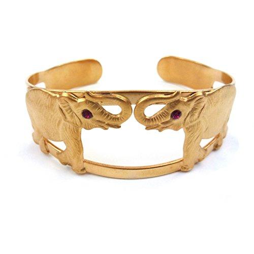 rougecaramel–Bijoux–Pulsera Junco Gemelos rígida de chapado en oro diseño de 2elefantes Long:...
