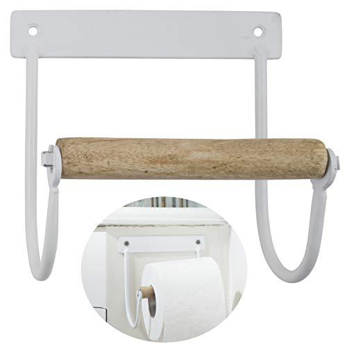 LS-LebenStil Metall Toilettenpapierhalter Weiß 14cm Altum Rollenhalter Holzrolle