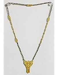 DollsofIndia Gold Plated Mangalsutra With Pendant - Beads And Metal (DN86-mod) - Black