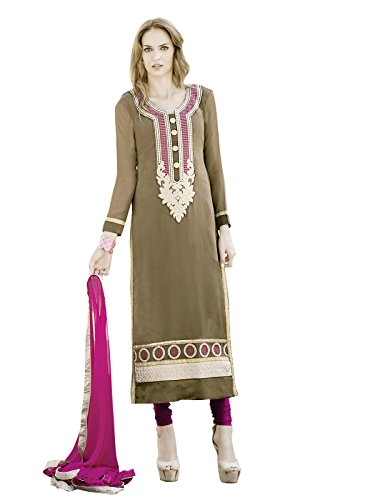 Kanchnar Brown and Pink Ethnic Party Wear Embroidered Georgette Semi-Stitched Salwar Kameez