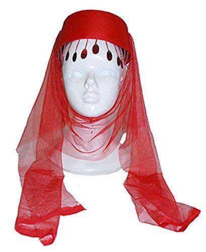 Rote Kostüm Fez (Fancy Ole - Orientalische Kopfbedeckung Bauchtanz Kostüm Hut Schleier Fez Fes Turban Tarbusch Filzkappe,)