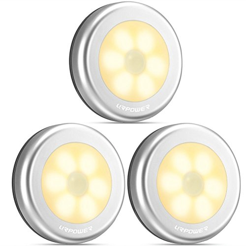 Nachtlicht mit Bewegungsmelder, URPOWER LED Nachtlampe mit Bewegungsmelder Batterie Auto EIN/AUS Magnetisch und 3M Klebend für Eingang, Flur, Keller, Garage, Badezimmer, Schrank, Warmweiß