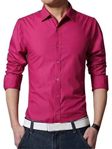 Camicie uomo slim fit maniche lunghe casual camicia abito camicia affari top classiche formale camicetta shirt moda men colore puro shirts rose red l