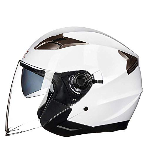 Rbendy Elektro-Motorradhelm Männliche Batterie Auto Doppel Objektiv Halber Helm Weiblicher Sommer Half-Covered Four Season Personality Retro (Color : White, Size : XL)
