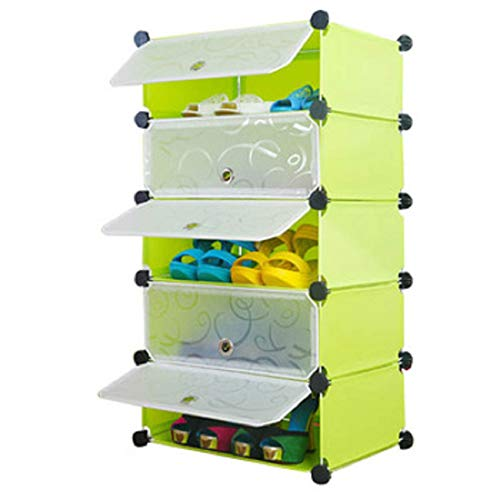 Styleys Plastic Shoe Rack with Cover for Home/Office Cube Organizer Wardrobe Black (5 Cube Green)