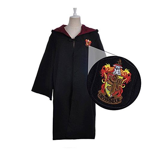 ytherin Robe Harry Potter Kostüm schwarze lange Umhang mit Kapuze (XXL, rot) (Slytherin Kostüme)