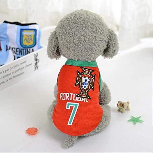 World Cup Dog Jersey, Football T-Shirt Dogs Kostüm, National Soccer Dog Pajamas FIFA Jersey Cats Onesie Für Hunde Und Katzen S c (Cat Football Kostüm)