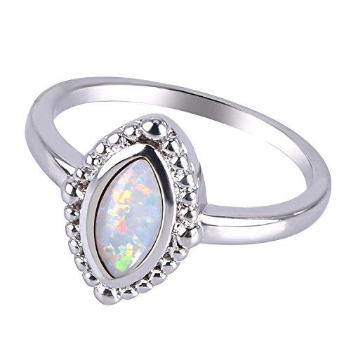 C QUAN CHI Weiß Opal Oktober Geburtsstein Solitärringe Ring Versprechen Jahrestag Geburtstag Geschenk Größe 10 (62mm) (Kostüme Können Ein Geschäft Machen)