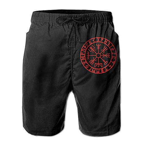 Fashion Men's Beach Pants Viking Symbol Nordic Compass - Men's Summer Shorts Casual Swim Trunks Beach Shorts,XL -