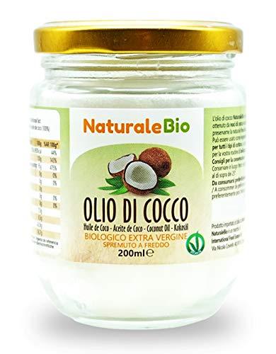 Kokosöl Extra Vergine 200 ml. Roh und kalt gepresst. Rein und zu 100 {eeaee81d2376174402ec07283ac2bd2cfb555fbab0fd3c9e0ede251b24d82ac9} biologisch. Ideal für die Haar. und Körperpflege und als Lebensmittel. Natives, nicht raffiniertes Bio-Öl. NaturaleBio