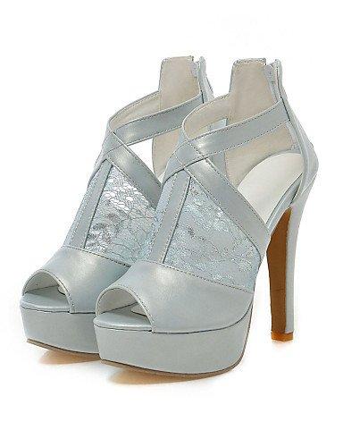 LFNLYX Scarpe Donna-Sandali-Matrimonio / Formale / Serata e festa-Tacchi / Plateau / Aperta-A stiletto-Pizzo / Finta pelle-Nero / Blu / Bianco White