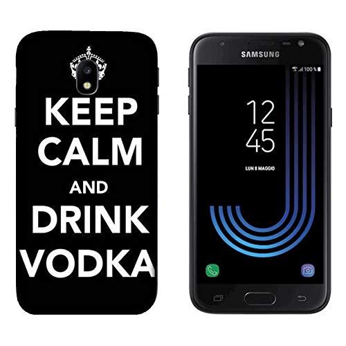 Hülle Galaxy J3 2017 Case Samsung Galaxy J3 2017 Lustige Sätze Haltet Kalm und trinkt Wodka / Cover Druck auch an den Seiten / Anti-Rutsch Anti-Rutsch Anti-Scratch Schock-resistenten Schutz Schutzulle Starre