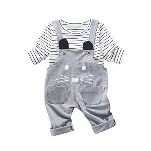 2Stk Kinder Kleider Hirolan Säugling Jungen Outfits Karikatur T-Shirt + Strap Hose Kleinkind Baby (90cm, (Kostüme Süßeste Halloween Die)