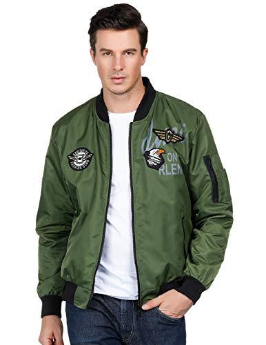 Herren Reversible Bomber Jacke Windbreaker Stehkragen Coat Army Green XL Nylon Reversible Coat