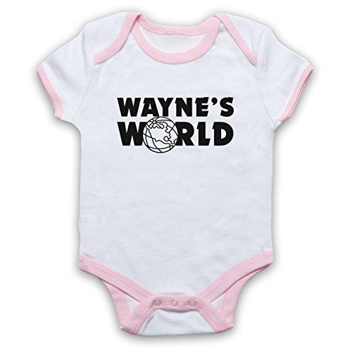 Inspiriert durch Wayne's World Logo Inoffiziell Babystrampler, Weis & Hellrosa, 6-12 Monate
