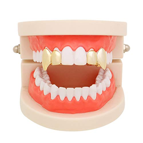 Hip Hop Teeth TAOtTAO 1Pair Hip Hop Teeth Grillz Top Mouth Teeth Grills Fashion Removable Dental Grill (Gold)