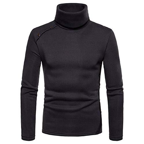 qulvyushangmaobu Herren Basic Pullover Top Pullover Winter Winter Langarm Casual Herren Baumwoll Slim T-Shirt Langarm Pullover mit einem Ausschnitt