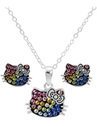 f887dd67a Hello Kitty Women and Girls Jewelry Sterling Silver Rainbow Crystal Pendant  and Earrings Set
