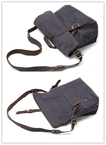 YAAGLE Herren Umhängetasche Retro Canvas Schultertasche Leder Handtasche Herrentasche Aktentasche Brieftasche kaffeebraun dunkelgrau