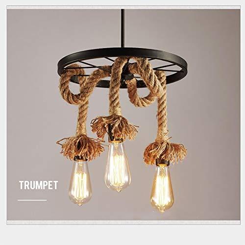 Swei Chandelier Retro Hanf Hanf Hanging Lampe Industrial Pendant Lampenreparver Bamboo Pendant Lights Fashion Kreativität Vintage 3 Flamming Edison Light (Glühbirne Nicht inbegriffen) (3 Lampe)