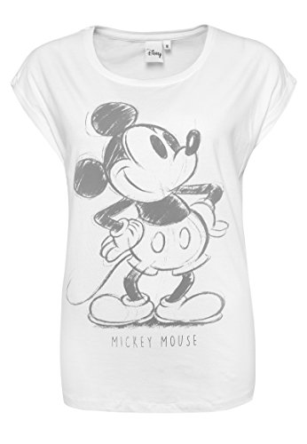Rock Angel Damen T-Shirt mit Retro MICKEY Aufdruck | Lockeres Print-Shirt mit Überschnittenen Ärmeln | Comic Shirt white S