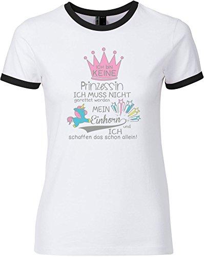 EZYshirt® Ich bin keine Prinzessin. Ich muss nicht gerettet werden. Mein Einhorn und ich schaffen das schon allein Damen Rundhals Ringer T-Shirt Weiss/Schwarz/Grau