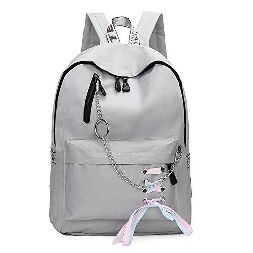 Damen Canvas Rucksack Simple Fashion Teen Handtasche Teen Girl Schultertasche Grau 42 * 12 * 32cm (Minnie Für Maus-tasche Erwachsene)