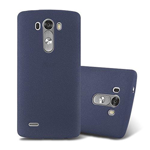 Cadorabo Hülle für LG G3 - Hülle in Frost DUNKEL BLAU - Handyhülle aus TPU Silikon im matten Frosted Design - Silikonhülle Schutzhülle Ultra Slim Soft Back Cover Case Bumper