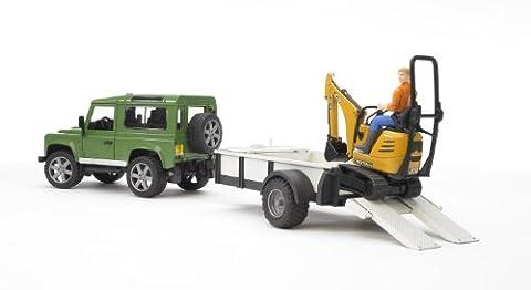 Bruder 02593 - Land Rover Defender Station Wagon mit Einachsanhänger,