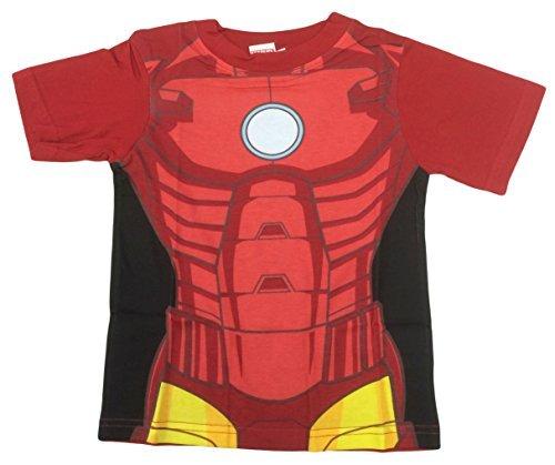 Marvel Avengers Iron Man Kostüm T-Shirt auch passend für Verkleidung - Rot, EU 122-128
