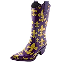 Corkys Rodeo Rain Boots for Women,6 B(M) US,Purple/Gold FDL