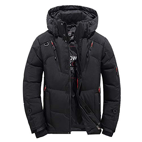 KPILP Daunenjacke, Männer Jungen Windbreaker Lässige Dicke Warme Kapuze Reißverschluss Mantel Outwear Jacke Tops Bluse Winter(Schwarz,EU-52/CN-M)
