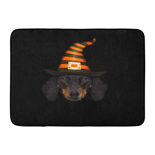 Rongpona Fußmatten Bad Teppiche Outdoor/Indoor Fußmatte Hund Halloween Teufel Wurst Dackel Angst und Angst tragen Hexenhut Wicked Badezimmer Dekor Teppich - Dackel-halloween Baby
