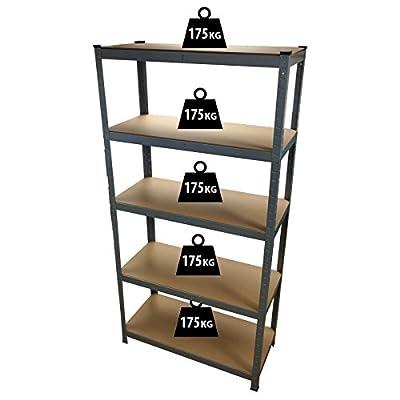 1.8M 5 Tier Heavy Duty Metal Shelving Unit Industrial Boltless Shelves Storage