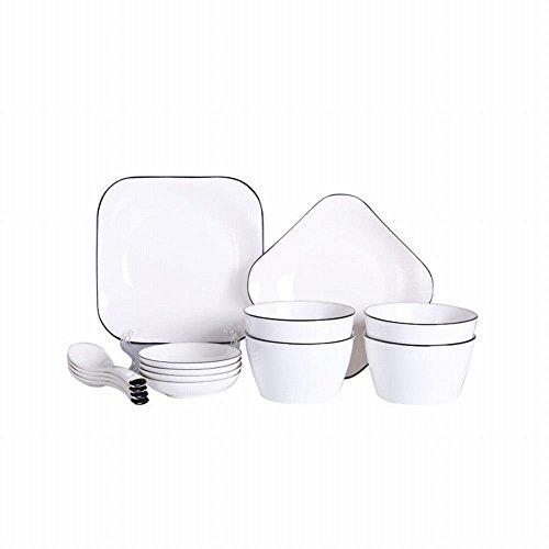 VIOY Hotel-keramisches Geschirr-Kreative Haushalts-Teller u. Geschirr-Satz Handgemalte Schwarze Linie Quadratische Teller-Geschenk-Geschirr,Weiß,Einheitsgröße