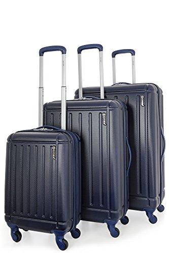 5 Cities Set di 3 ABS Trolley Valigie Rigide Leggeri con 4 Ruote , 55cm Bagaglio a Mano + 71cm + 81cm , Blu Marino